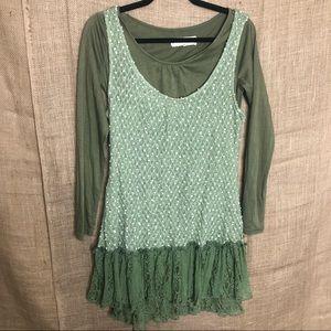 Areve Green Top M Lagenlook Long Sleeve Shirt Boho